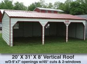 20 x 31 x 8 Vertical Roof